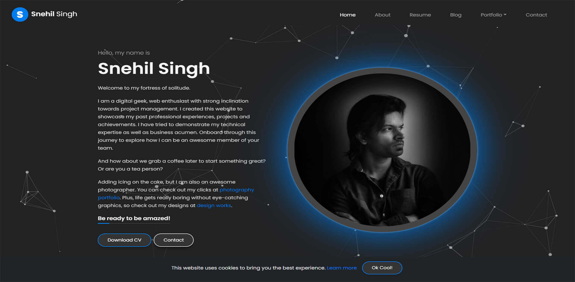 Snehil Singh Website Banner
